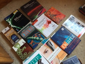"""This is a """"stack trace"""" of one of my multitudes of stacks of programming books."""