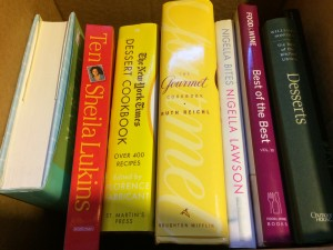 Books I rescued from the basement. Still need to find the other Ruth Reichl one.
