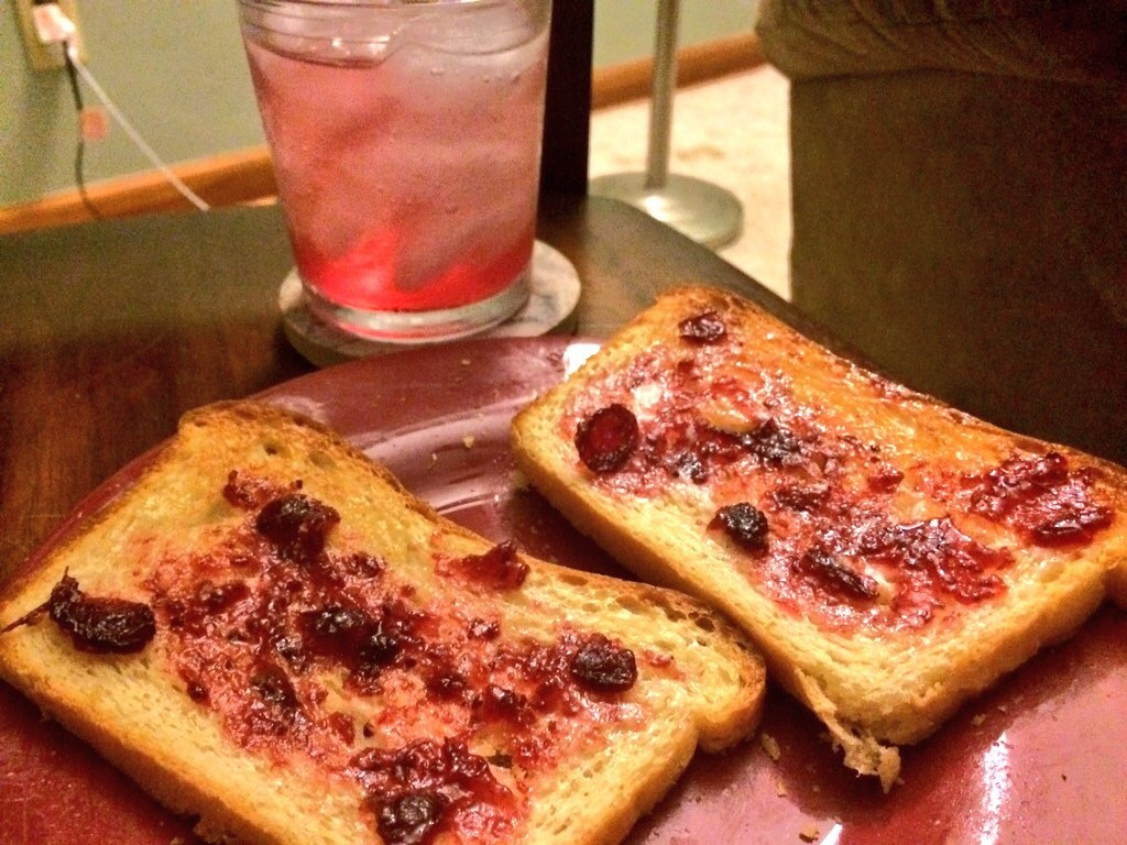 One of the simple joys in life: Toast made with fresh bread.